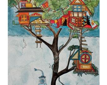 8x10 Submarine Tree House Art Print