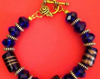 Dark Blue Crystal Bead Bracelet