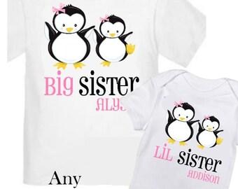 2 Big Sister Penguin Shirts Set Siblings Little Sister Siblings T-shirts