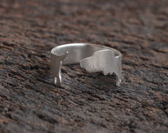 Silver Dachshund Ring , Adjustable Wiener Dog Ring , Dachshund Jewelry , Dachshund Lover Gift , Sausage Dog Ring