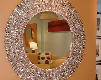 Brown Sea Urchin Spines- Natural SHells on a Circular Mirror