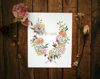 Flourish - Floral Watercolor Print - 8 x 10