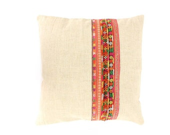 Pillow Cover Patchwork Hmong Embroidered Strip Thailand (CS6427.8)