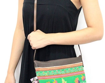 Green Cross Body Bag With Leather Strap Vintage Fabric Fair Trade Thailand (BG281.2)