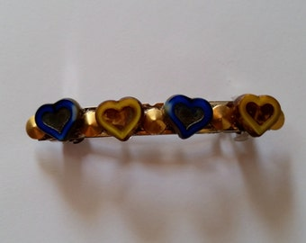 Blue and Yellow Heart Gold Studded French Barrette, for weddings, parties, special occasions