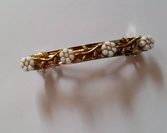 White Flower Gold Metal Leaf French Barrette, for weddings, parties, special occasions