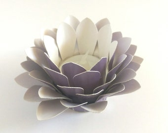 Paper Flower Decor - Tealight holder - Handmade Paper Lotus - Flower Table Lamp  - Metallic Purple  - Waterlily - 3d Paper Art - Fake Flower