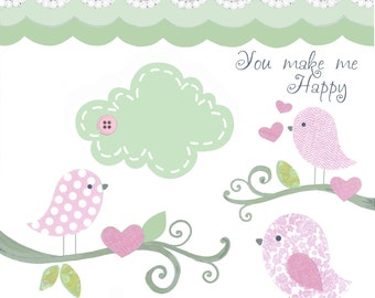 Shabby Chic Nursery, pink mint art print, baby girl wall decor, bird bedding, 8x10, girls nursery room decor, green pink, children's art