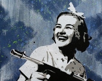 Tommygun - Original Stencil Art Painting on 16x20 Inch Stretched Canvas