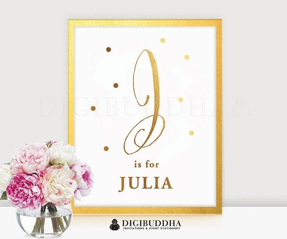 Baby monogram gold foil print personalized nursery j