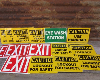 HUGE Collection Lot Vintage Industrial Stickers 1990s Era Plastic Stickers Warehouse Factory Danger Exit Black Yellow Red & White Colors