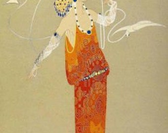 Art Deco Fashion Print by George Barbier--Woman with White Birds