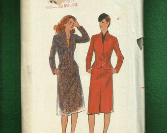 Vintage 1980's Butterick 6859 Slimming Jacket with Raised Neckline & Skirt Size 16