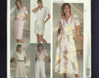 Vintage 1980's McCalls 2918 Tapered Pants & Skirt Blouses with Shoulder Pads Size 10..12..14 UNCUT