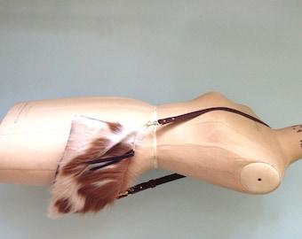 Cowhair leather handbag, cross-body bag/ leather purse / clutch
