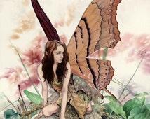 """Original Art Watercolor Painting: Fantasy Fairy Faerie Mushroom Butterfly Wings Crouching Kneeling """"Fenn"""""""