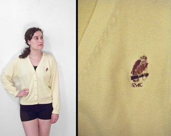 Greenwich HAWK Sweater Button Up Cardigan Cotton Butter Yellow Size M