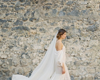 Floor Length Oval Silk Chiffon Veil, Bridal Veil, Ethereal Veil, Wedding Veil -Style 1915 'Anastasia' MADE TO ORDER