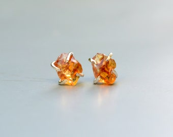 Raw Citrine Crystal Earrings Studs Sterling Silver Natural Stone Honey Gold Yellow Rough Citrine Studs Crystal Jewelry Post Tiny Earrings