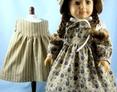 RESERVED for Tammy O. - 1800s Style Dress, Apron and Bonnet - 18 Inch Doll Clothes - Navy and Tan Tea Stained Cotton - American Girl