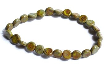 8mm Olive Picasso Travertine Dime Beads (ct 25)