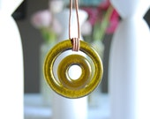 Double Fused Amber Wine Leather Necklace | Upcycled Glass Bottle Jewelry