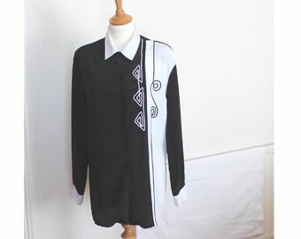 Vintage 80s Bassini black and white ladies long sleeve blouse. medium to larger size