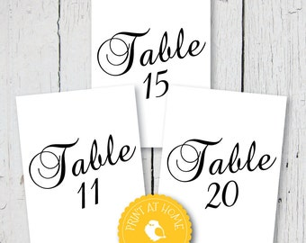 """Wedding Table Plan Numbers 11-20 5x7"""" - Instant download"""