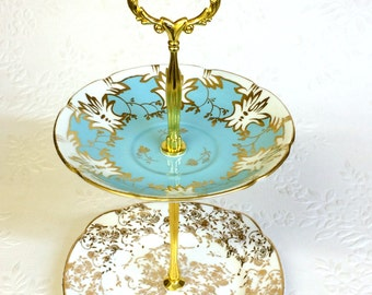 Blue and Gold 2 tier Tea stand