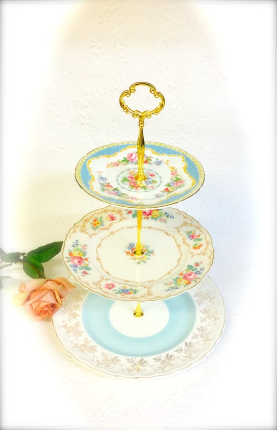 Pretty pale blue 3 tier cake stand wood sons syracuse for Pretty cake stands