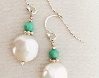 Coin Pearl Opal Earrings - Opal Pearl Earrings - White Coin Pearl Earrings - Blue Opal Earrings - Teal Opal Earrings - Aqua Opal Earrings