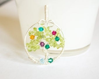 Family Tree of Life , Personalized Tree of Life Pendant , Custom Mother's Pendant , Mother's Day Birthstone Necklace