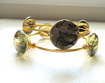 Olive Green and Butterflies, Bright Gold, SET OF 2, Wire-Wrapped Bangles---Large