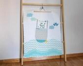 Custom patchwork applique stroller quilt Let's set sail,nap quilt/playmat,shower gift idea, Nautical theme, blue/aqua, Made to order