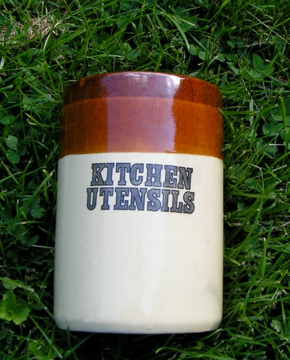 60s Kitchen CROCK Three Tone Brown Kitcehn Utensils Large TALL