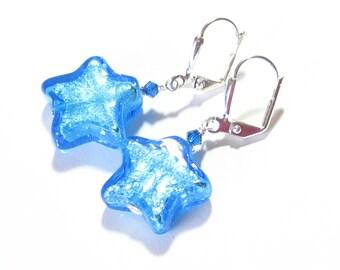 Lampwork Glass Aqua Star Silver Earrings, Italian Jewelry, Murano Glass Earrings, Venetian Jewellery, Sterling Silver Leverback Earrings