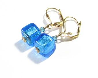 Murano Glass Aqua Cube Gold Earrings, Clip on Earrings, Venetian Jewelry, Gold Filled Leverback Earrings, Italian Jewelry, Gift Idea