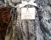 Adult Faux Fur Minky Blanket - Adult Teen Tween EXTRA LARGE Grey Black and White Faux Fur Print Bedding Gray Dorm Room Quilt