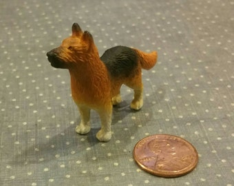 Miniature German Shepherd / Diorama / Doll House Supplies / Miniature Dog / Altered Art / Mixed Media / Assemblage supply / Farm Animals
