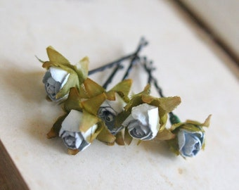 Bohemian Roses Hair Pins, Small Vintage Inspired Hair Flowers Romantic Flower Hair Accessories Grey Flower Bobby Pins