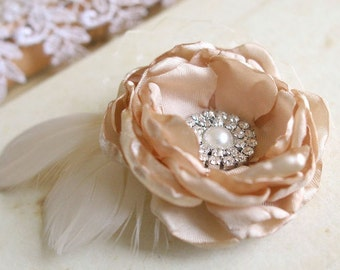 "Champagne Bridal Flower, Wedding Hairpiece, Bridal Hair Accessory, Small Bridal Flower Clip Fascinator Mini 2.5"" Rhinestones Veil Feathers"