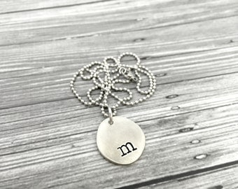 Pewter Riverstone Initial Monogram Typewriter Lowercase Simple Classy Minimalist Pebble Necklace - Engraved Jewelry