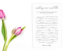Instant Download - Original Wedding Vow Mad Libs - Printable - Wedding Shower Help the lovebirds write their vows Bride Groom Vow Rose WV01