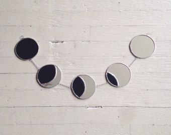 Lunar Eclipse Garland - stained glass moon phase - celestial - mirror moon - glass moon - eco friendly