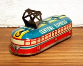 Vintage Small Tin Lithograph Central Express Electric Train Toy 3 Wheel Friction Made in Japan