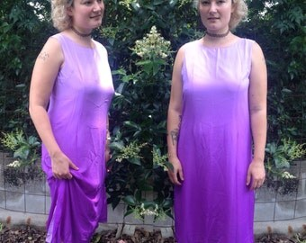 purple ombré sleeveless maxi shift dress