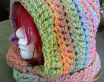 Made to Order - Pastel Rainbow Puke Crochet Scarf Hood Scoodie Scoofie Light Weight Perfect for Spring OOAK Halloween Gifts for teens