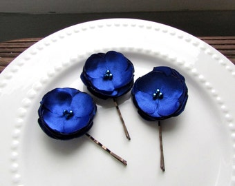 Set of 3 Blue Hair Pins, Small Silk Flower Bobby Pins, Royal Blue Bridesmaid Hair Accessories, Blue Flowers for Hair, Small Floral Hair Pins