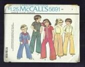 1970's McCalls 5691 Retro Western Shirt & Cargo Pocket Pants for Kids  Size 4