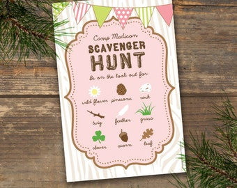 Camp Theme Scavenger Hunt Printable - Pink